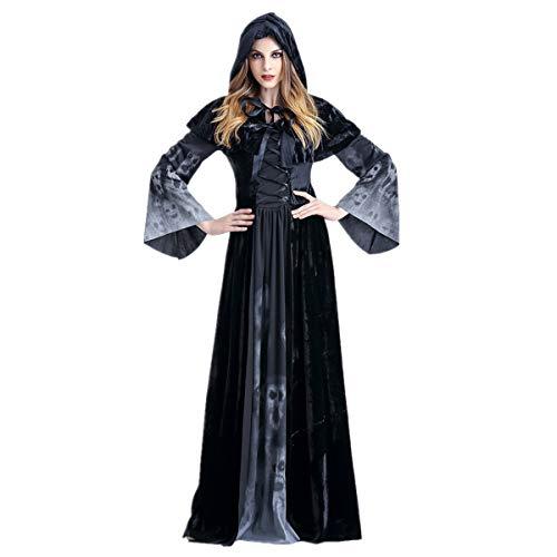 (Dreamworldeu Deluxe Hexe Kostüm Schwarz Kleid mit Kapuze Damen Halloween Lange Kleider Schädel Gedruckt für Vampire Hexe Cosplay Kostüm)