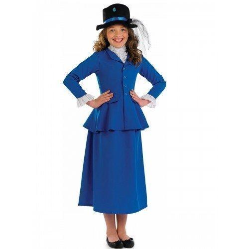 Mädchen Schick Reich Viktorianisch Buch Woche Tag Kostüm Kleid Outfit 4-12 Jahre - Blau, 6-8 ()