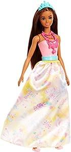 Barbie Dreamtopia, muñeca Princesa morena,  juguete +3 años (Mattel FJC96)