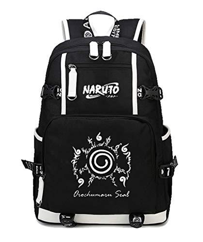 Cosstars Naruto Anime Leuchtend Backpack Schüler Schultasche Laptop Rucksäcke Freizeittasche Daypack Schwarz/Leuchtend 6