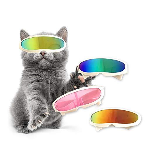 Clluzu Katze Sonnenbrille Trend Teddy Kleiner Hund Laser Brille Haustier Schmuck niedlich cool Multicolor 7PCS