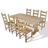 Xinglieu 7-teiliges Set große Tisch und Stühle aus Teakholz für Pranzo, Tisch und Pranzo-Sessel