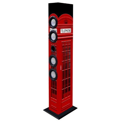 Majestic TS 84 BT USB SD AX - Altoparlanti a torre con Bluetooth, Ingressi USB/SD/AUX-IN, radio FM, telecomando, Cabina telefonica di Londra