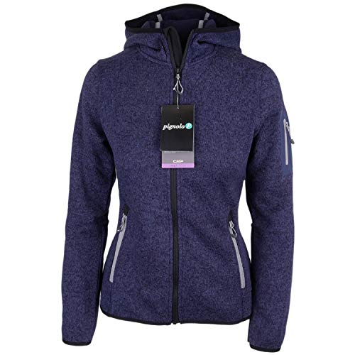 Strickfleecejacke Damen CMP Outdoor Fleecejacke dünn Sweatjacke mit Kapuze Strickjacke große Größen Kiara II, Farbe:Dark-Blue-Nero-grau, Größe:40
