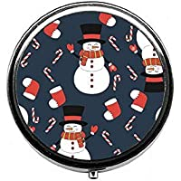 LinJxLee Merry Christmas Snowmen Round Pill Case Pill Box Tablet Vitamin Organizer Easy to Carry preisvergleich bei billige-tabletten.eu