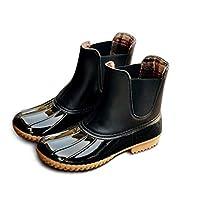 Chelsea Wellington Boots Womens Mens Non-Slip Short Wellies Shoes Ankle Rain Boot Ladies Waterproof Booties Black Brown 3-8 UK