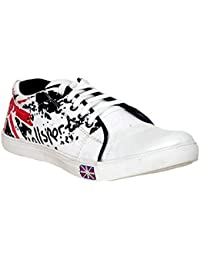 Men'S Casual Sneakers Shoes White,Red & Black Printed Canvas Shoes By Alphard