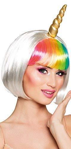 Fancy Me Damen Kurz Weiß Regenbogen Einhorn + Hupe Karneval Cosplay Konvention Lustiges Kostüm Outfit Accessoire Perücke