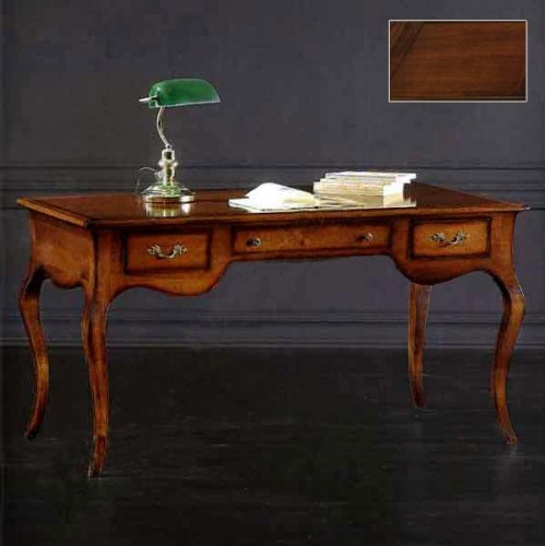 Von Hand Bemalt, Sind Mit Schreibtischen (Klassisch Nussbaum Schreibtisch Bürostuhl, Chefsessel Schreibtisch, Holz, Schreibtisch, 130 x 75 cm, h 80, MADE IN ITALY)
