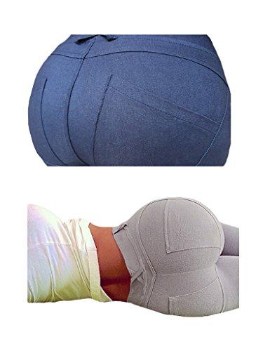 Bestgift Femme Pantalon leggins serrer élastique Bleu