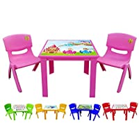 A406 Kids Children Plastic Home Garden Folding Foldable Table & Stackable Chair Set (Pink)