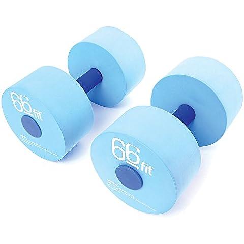 66 Fit - Manubri galleggianti per piscina, set da 2, colore blu