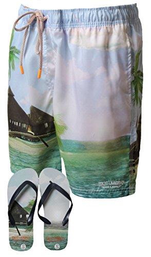 Herren Hawaii Surf Brett Badehose By Tokyo Laundry Gratis Zehentrenner Neu 1s7512- himmelblau