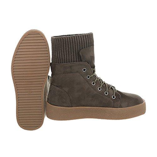 Ital-Design Sneakers High Damenschuhe Sneakers High Sneakers Schnürsenkel Freizeitschuhe Khaki