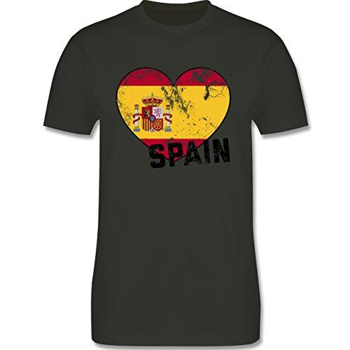 EM 2016 - Frankreich - Spain Herz Vintage - Herren Premium T-Shirt Army Grün