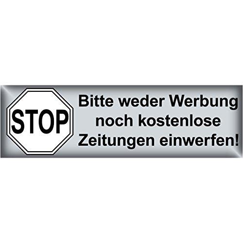 Preisvergleich Produktbild Aufkleber 6,5 x 2cm Stop Bitte weder Werbung noch kostenlose Zeitungen einwerfen Schrift schwarz Briefkasten (1)