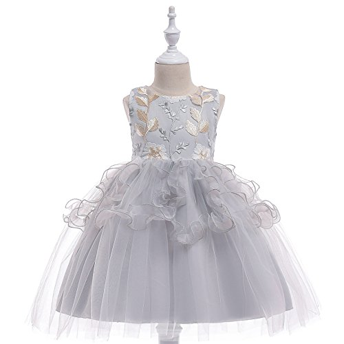 Nowborn Baby Kids Girls Lace Applique Birthday Party Dress Sleeveless Princess Dresses 70-90