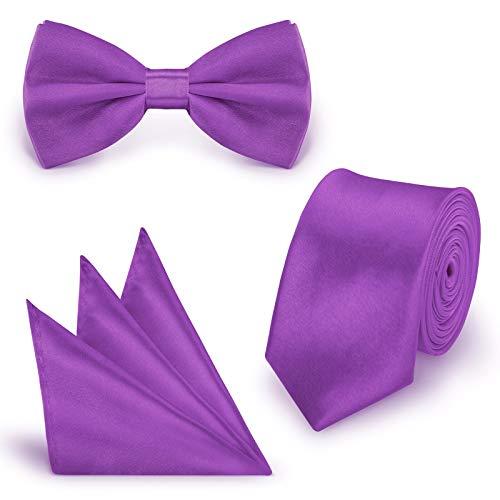 StickandShine SET Krawatte Fliege Einstecktuch Lila einfarbig uni aus Polyester
