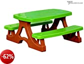 Solid and safe picnic table with double bench for children