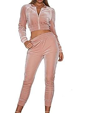 LANOMI Damen Freizeitanzug Sportanzug Jogginganzug Sportjacke Jacke mit Reißverschluss Sporthose Hose mit Tunnelzug