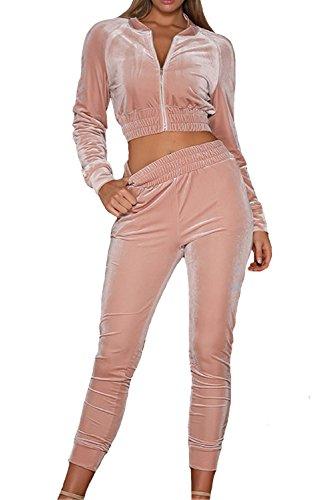 LANOMI Damen Freizeitanzug Sportanzug Jogginganzug Sportjacke Jacke mit Reißverschluss Sporthose Hose mit Tunnelzug (Etikett S/EU 32-34, Rosa)