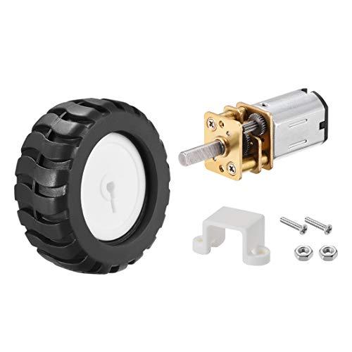 Sourcing Map N20 12 V 200 U/min Mikrogetriebemotor mit Gummirad für Roboter Smart Car (Motor Gummi Halterungen)