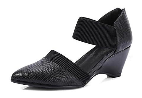 Beauqueen OL Pompes Wedge de mariage Chaussure élastique à talons mi-hauteur Femmes En forme d'amande Boucles d'oreilles Chaussures élégantes Taille de l'UE 34-39 , black ,