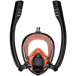 YTBLF Double Masque de plongée en apnée, Combinaison de plongée en apnée Professionnelle avec Paille rotative à 360 ° pour Adultes et Enfants,C,X/L