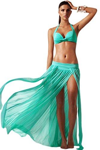 Damen New schwarz Elegante Einheitsgröße Cool Mesh Maxi Rock Layered Bademode Beachwear Grün