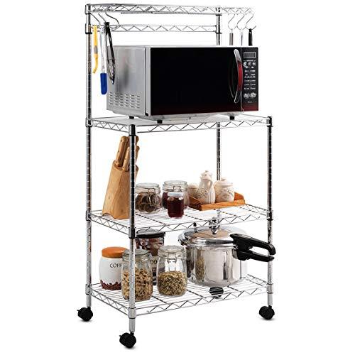 COSTWAY Küchenregal für Mikrowelle, freistehendes Mikrowellenregal auf Rollen, Küchenwagen mit 6 Haken, Standregal Küche, 4-stöckiges Haushaltsregal mit verstellbaren Regalböden