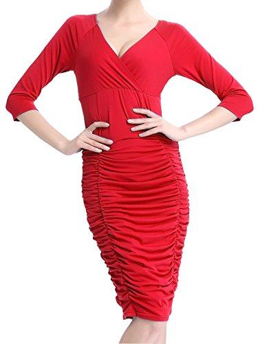 Alisa.Sonya Damen Plissee Kleid blau blau Rot