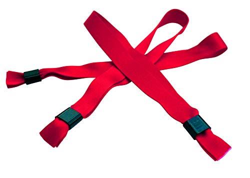 20 Stück Stoffbänder für Festivals mit Plastik-Schiebeverschluß - viele Modefarben (hellrot)