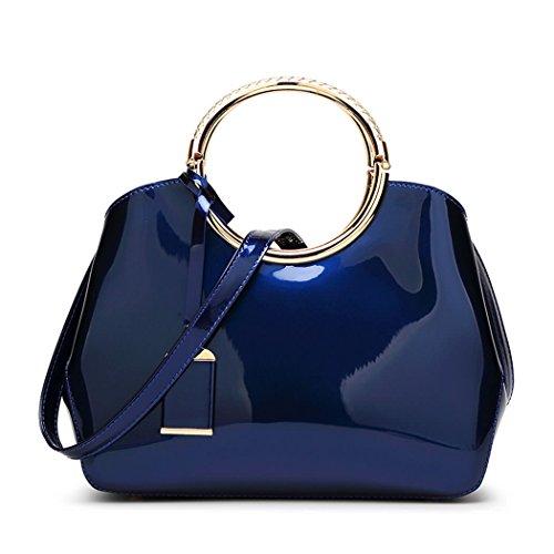 DEERWORD Damen Umhängetaschen Handtaschen Totes Henkeltaschen Schultertaschen Leder Blau