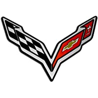 Victory Wing Stingray Crossed Flags Fender Emblem Badge Nameplate for Chevrolet Corvette C7 14 2014 (Universal Fitment)