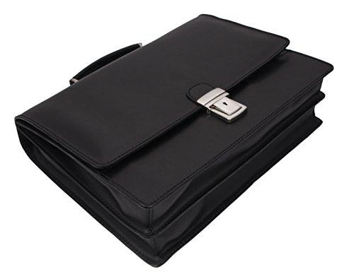 """SLINGBAG """"Alexander"""" Aktentasche / Businesstasche / Aktenkoffer / Notebooktasche aus echtem Leder / FARBAUSWAHL (Schwarz) Schwarz"""