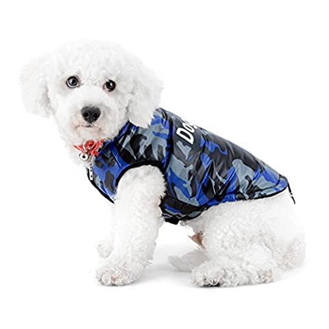 Ranphy Small Dog Coats for Winter Chihuahua Camo Jacket Pet Cat Padded Coat Vest Puppy Cold Weather Coats Shih Tzu Clothes Doggy Apparel Blue