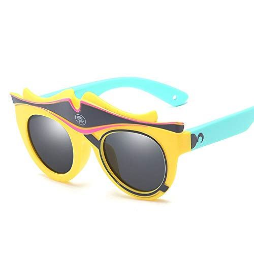 Karikatur-Baby-dekorative Silikon-Sonnenschutz-Sonnenbrille-Kinder polarisierte Sonnenbrille Brille (Color : Gelb, Size : Kostenlos)