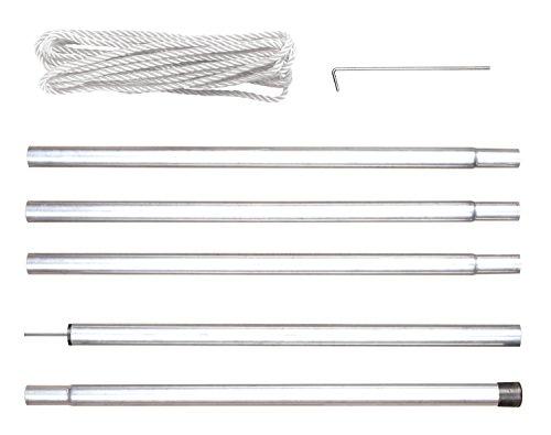 Befestigung Stange (Perel Stangenset für sonnensegel mit abspannseil, 2,5 m, 57 x 6 x 8 cm, silber, GSSK1)