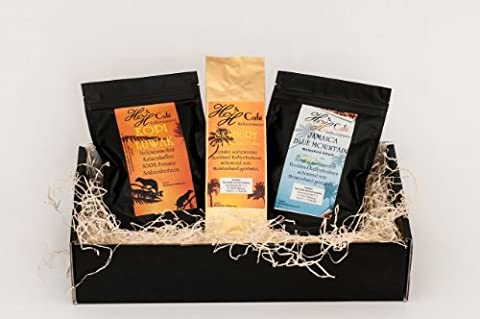 Kaffee - Raritäten Geschenk Set - Katzenkaffe Kopi Luwak (von freilebenden Tieren), Jamaika , Hawaii Kona gemahlen als Geschenk frisch geröstet als