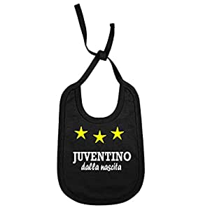"""Bavaglino Personalizzato """"Juventino dalla nascita"""" per piccoli tifosi della juventus juv-NE01"""