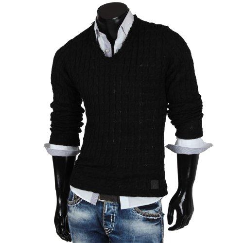 Emimay pull en tricot avec col en v pour homme pull swaetshirt veste nouvelle étiquette Noir - Noir