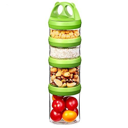 Tritan Frischhaltedosen Snack Aufbewahrungsbox Vorratsdosen Set, Twist lock 4-teilig Stapelbar, 100% BPA-Frei, Luftdicht, Auslaufsicher, Geeignet für Mikrowelle, Gefrierschrank und Spülmaschine (0,91 Liter, Grün) (Lock Und Lock Gefrierschrank)