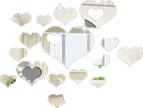 Ardisle 16 PCS Multi-Größe Herz Spiegel Fliese Abziehbild Aufkleber Wand Kunst Handwerk Acryl Selbstklebend Mosaiken Schöne Moderne Venezianischen