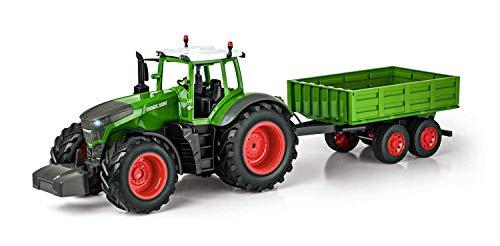 RC Traktor kaufen Traktor Bild 1: Carson 500907314 500907314-1:16 RC Traktor mit Anhänger 100% RTR, Ferngesteuertes Fahrzeug, Baufahrzeug mit Funktionen Licht und Sound, inkl. Batterien und Fernsteuerung, grün*