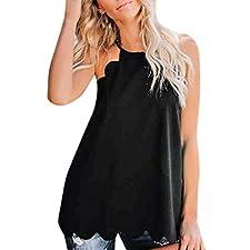 Chaleco Corto Atractivo de Las Mujeres 2019,ZARLLE Camiseta sin Mangas Floja del Verano del Encaje de Moda Tanque sin Mangas Blusa Tops Tapas de la Playa del Chaleco