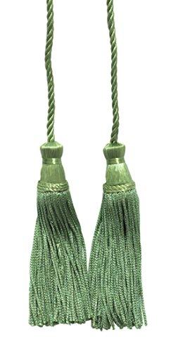 DecoPro Vert Olive Clair Double Tassel/Pompon Cravate avec 10 cm inch Pompon/Propagation 73.5 cm, Style # Cdct Couleur : 29
