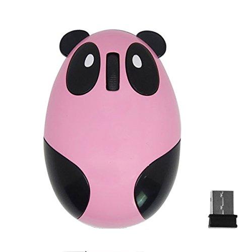 Tragbare Cartoon Panda Stil Mini Akku 2,4 GHz Wireless-Computer optische Maus für PC Macbook Laptop Pink