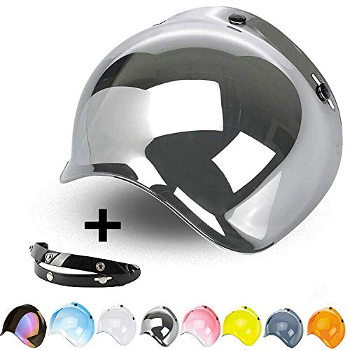 Blasen-Visier mit 3 Knöpfen, klappbar, Spiegel, universal für Jet-Helm, kompatibel mit Helmen von Biltwell, Bell, DMD, Bandit, AFX, Nolan, AGV. Knopf-visier