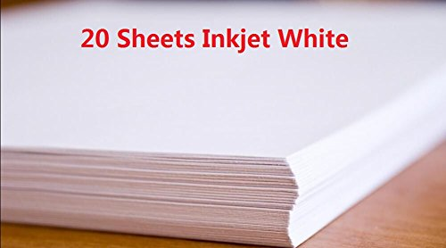 20 Sheets A4 Inkjet Water Slide Decal Paper Sheets White DIY for Inkjet Printer