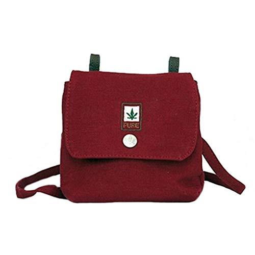 Hanf Messenger Tasche (PURE HF-0025 Hanf Baumwolle kombinierte Schultertasche und Gürteltasche, H13 x B15,5 x T4,5, Bordeaux)
